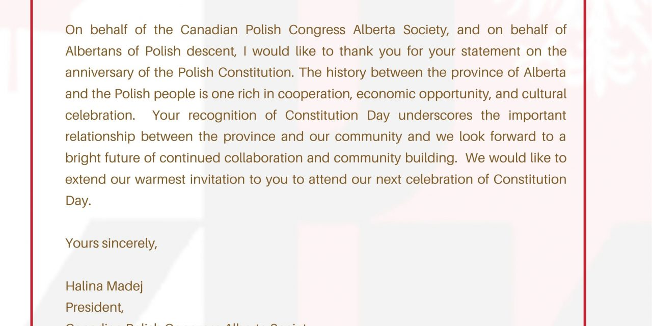 List z podziękowaniem dla Premiera Alberty
